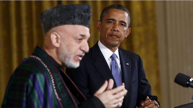 US President Barack Obama and Afghan counterpart Hamid Karzai