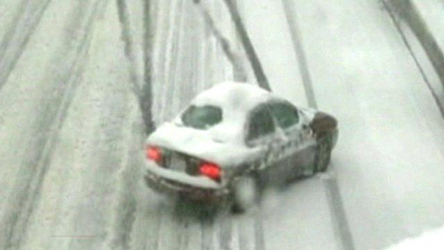 Car sliding on snowy road