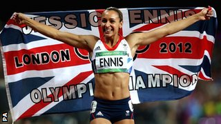 Britain's Jessica Ennis celebrates her Olympic heptathlon victory