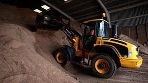 Digger shifts road salt in Huntingdon