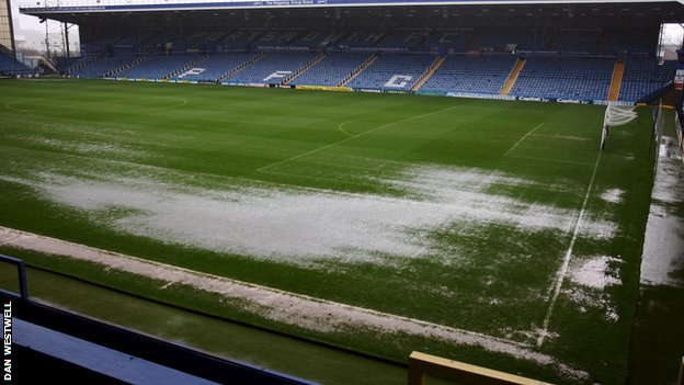A waterlogged Fratton Park