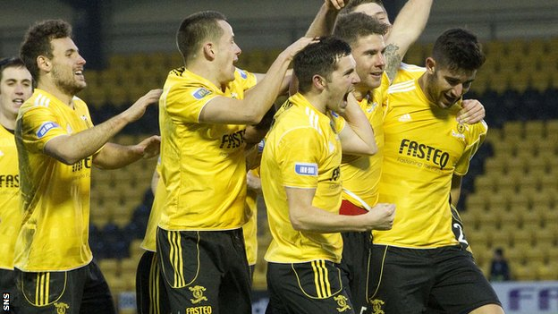 Livingston celebrate Craig Barr's second-half goal