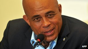 Michel Martelly at media conference