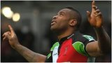Ugo Monye celebrates his try for Quins