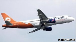 A picture taken from September 2005 shows the Armenian Armavia Airbus A320-211 passenger aircraft
