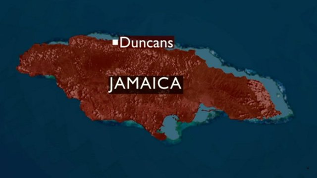 Map of Jamaica showing position of Duncans