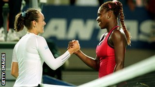 Martin Hingis and Serena Williams