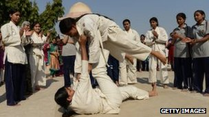 Indian women practise judo