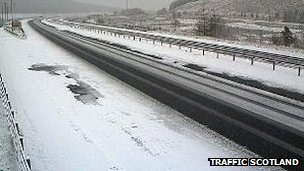 Snow on M74 at Beattock