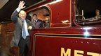 Boris Johnson on steam train
