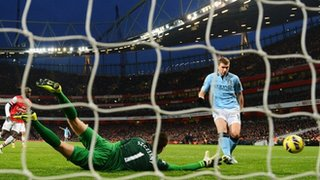 Edin Dzeko scores for Man City
