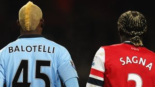 Mario Balotelli and Bacary Sagna