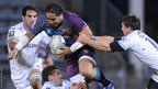 Newport Gwent Dragons centre Andy Tuilagi takes on the Bayonne defence in the Amlin Challenge Cup
