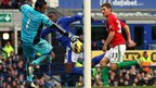 Swansea City goalkeeper Michel Vorm makes a save from Everton's Victor Anichebe as a match of few chances ends goalless