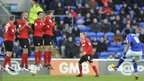 Ipswich Town midfielder Guirane N'Daw, who hit the post with a 30-yard drive, fires a free-kick under the Cardiff City wall