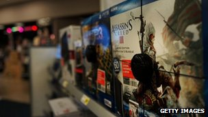 The game Assassin&quot;s Creed III is viewed at an electronics store on January 11, 2013 in New York City.
