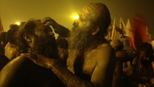 Sadhus after bathing at the Sangam