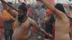 Niranjani sadhus at Kumbh Mela