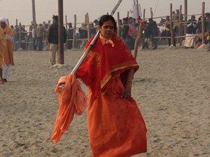 Female ascetic at Kumbh Mela, 14 January 2013