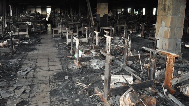 A factory floor destroyed by the fire