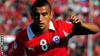 Arturo Vidal playing for Chile