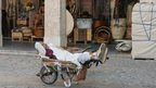 A market porter takes a nap during the mid-day break in the wheel barrow he uses to ferry people&#039;s shopping about.