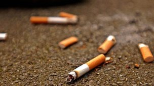 Discarded cigarette ends