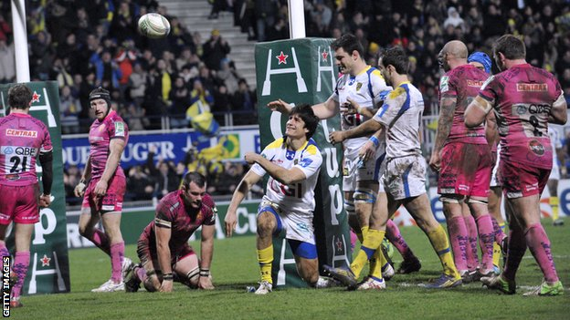 David Skrela celebrates after scoring a try for Clermont Auvergne during their win over Exeter