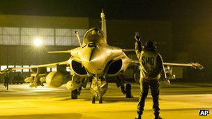 A French Rafale jetfighter preparing to leave for Mali