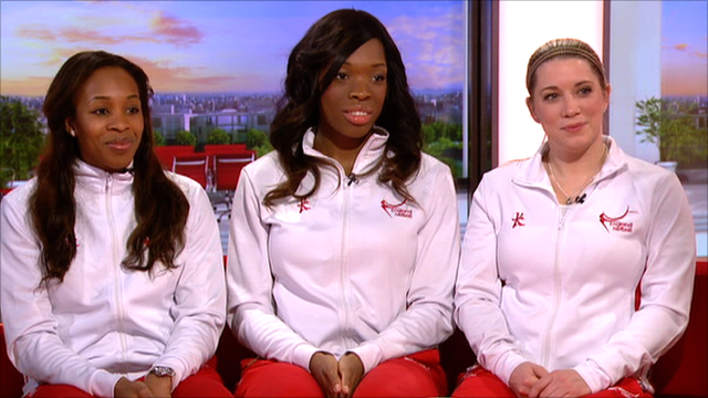 England Netball team members and coach