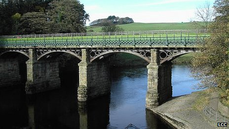 Footbridge across the River Lune