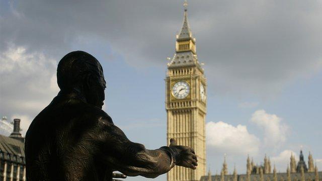 Statue of Nelson Mandela overlooks Parliament