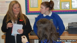 Rachael Smith working as a mentor at Penn Fields Special School, Wolverhampton