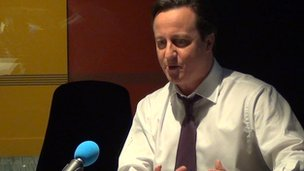 David Cameron in the Today studio