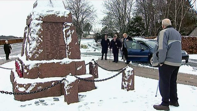 Visitors attend Fyvie war memorial