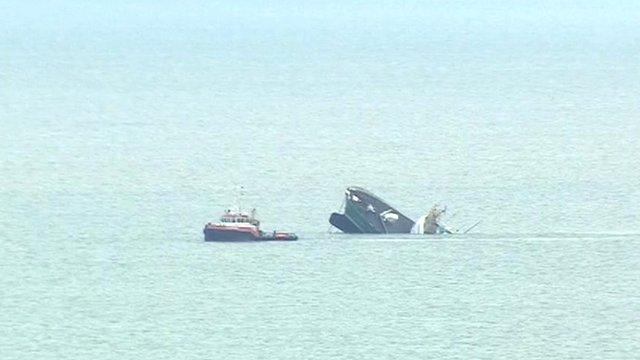 The decommissioned Moto Vessel Emsstrom sinking