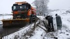 Snow plough and crashed van near Buxton