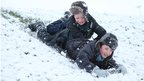 Children enjoying the snow in Nottinghamshire