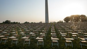 Empty school desks on the National Mall