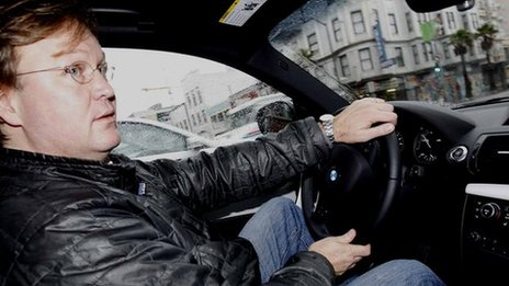 Jorn Madslien drives a DriveNow car in San Francisco