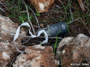 A photograph published by Human Rights Watch, which it said showed an unexploded DPICM submunition delivered by a 122mm rocket that was used in an attack near the village of Banin in Jabal al-Zawiya in December 2012