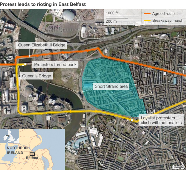 Map showing route to east Belfast taken by protesters