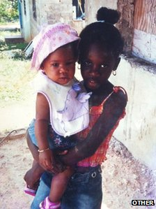 Imani Green as a baby in the arms of her cousin Brandese Brown