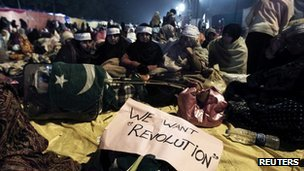 Supporters of Muhammad Tahirul Qadri attend a protest in Islamabad, Pakistan, 14 January 2013