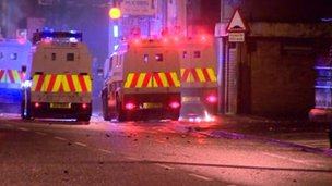 Police were attacked with petrol bombs and stones in east Belfast on Monday night