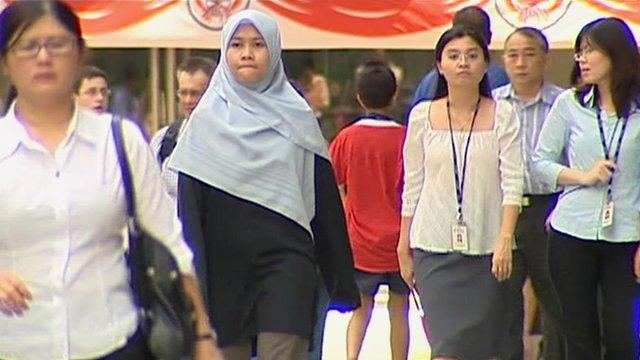 Pedestrians in central Singapore