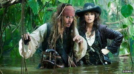 Johnny Depp as Captain Sparrow and Penelope Cruz as Angelica Teach