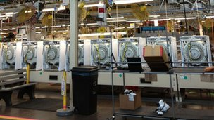 Washing machines at the Whirlpool factory in Clyde