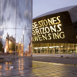 Millennium Centre - home of the Welsh National Opera - in Cardiff's newly developed Cardiff Bay former port area