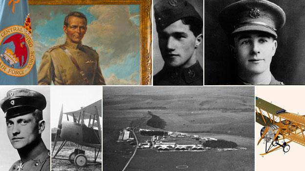 Top, Major Robert Smith-Barry, Albert Ball, James McCudden - Bottom row,  Manfred von Richthofen, WWI aircraft, Upavon, Wiltshire